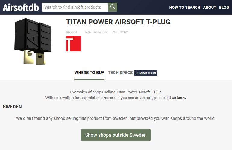 Airsoft T-Plug page on AirsoftDB.com.